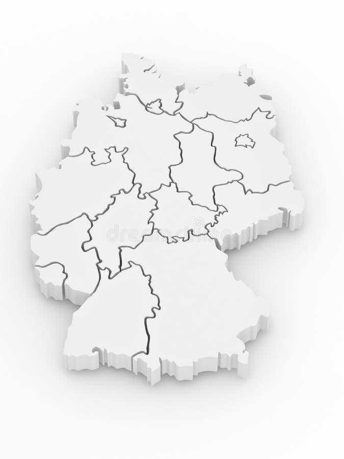 Driedimensionele kaart van Duitsland. 3d royalty-vrije illustratie