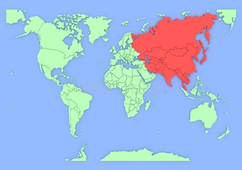 Driedimensionele kaart van geïsoleerd Azië. 3d vector illustratie