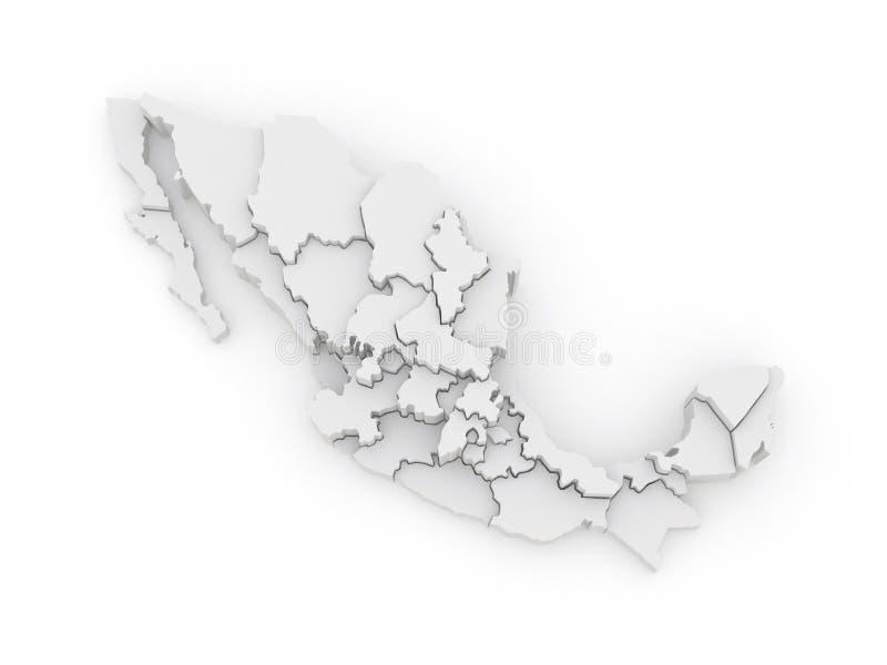 Driedimensionele kaart van Mexico royalty-vrije illustratie
