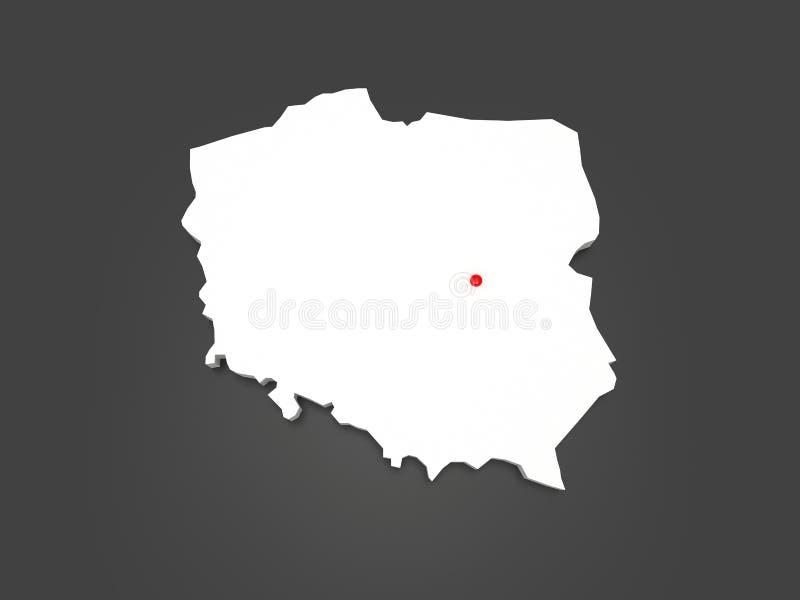 Driedimensionele kaart van Polen. stock illustratie