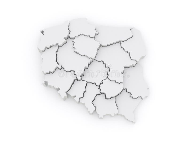 Driedimensionele kaart van Polen. royalty-vrije illustratie