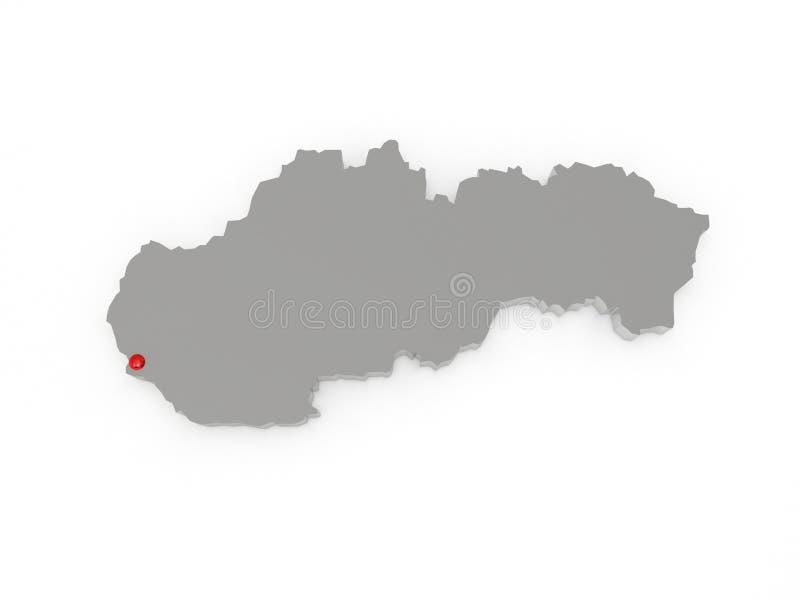 Driedimensionele kaart van Slowakije. royalty-vrije illustratie