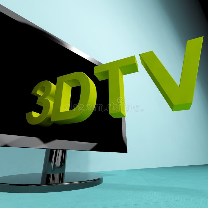Driedimensionele Televisie die 3D TV HD betekent stock illustratie
