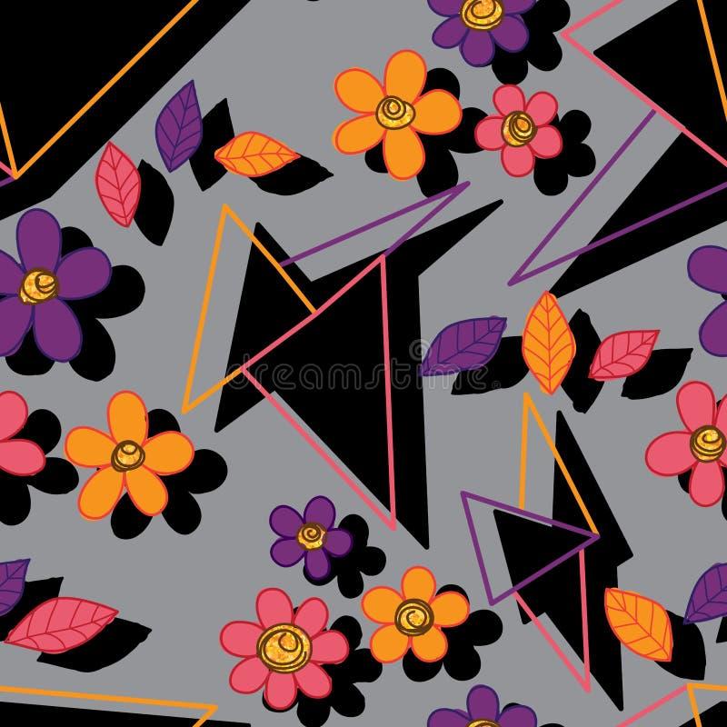 Driehoek ernstig met bloem vrij naadloos patroon stock illustratie