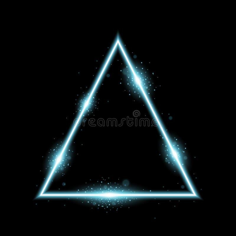 Driehoek met lichten en fonkelingen, aquakleur royalty-vrije stock foto