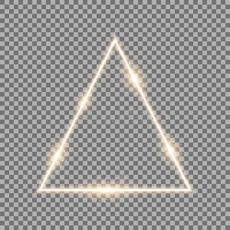 Driehoek met lichten en fonkelingen, gouden kleur stock foto's