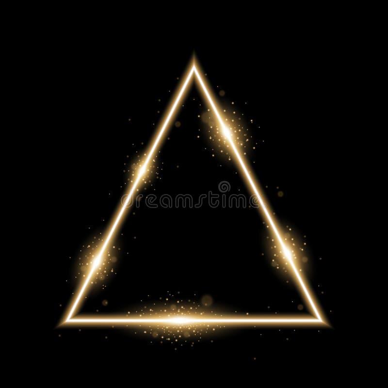 Driehoek met lichten en fonkelingen, gouden kleur stock afbeeldingen
