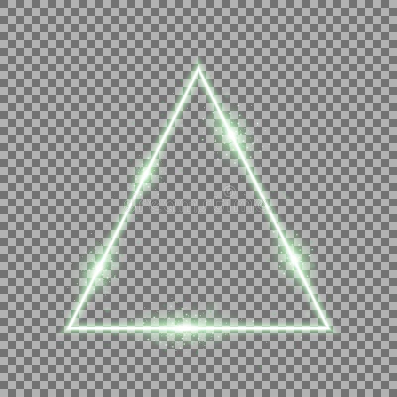 Driehoek met lichten en fonkelingen, groene kleur royalty-vrije stock foto's