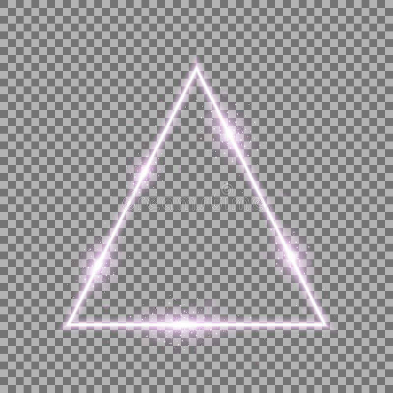 Driehoek met lichten en fonkelingen, purpere kleur royalty-vrije stock afbeeldingen