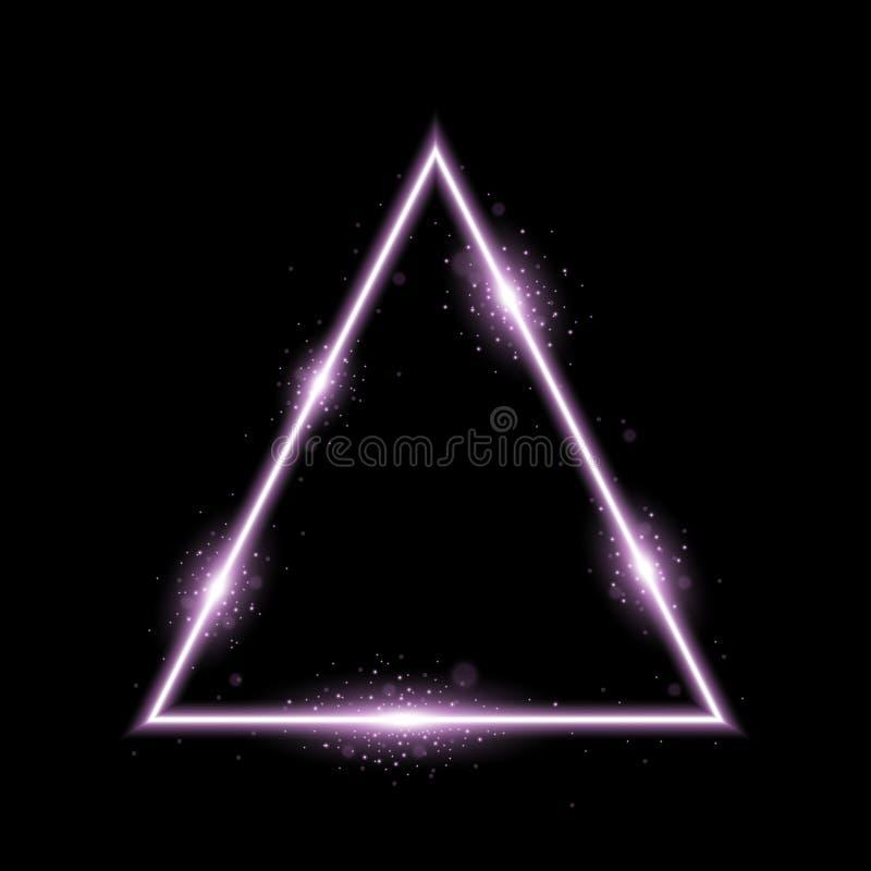 Driehoek met lichten en fonkelingen, purpere kleur royalty-vrije stock afbeelding