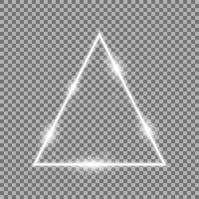 Driehoek met lichten en fonkelingen, witte kleur stock afbeelding