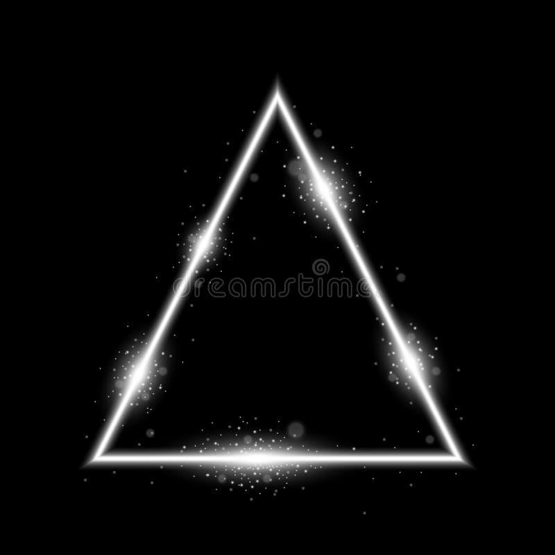 Driehoek met lichten en fonkelingen, witte kleur stock foto