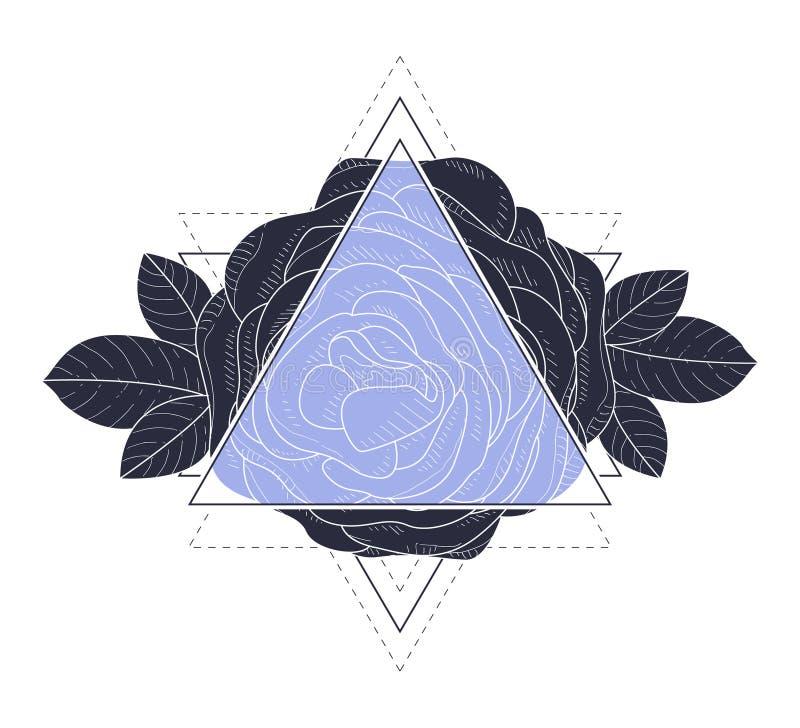 Driehoek met Rose Flowers en Bladeren Vectorillustratie vector illustratie