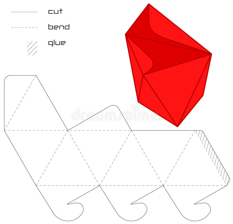 Driehoek van de de doos rode besnoeiing van het malplaatje de Huidige   royalty-vrije illustratie
