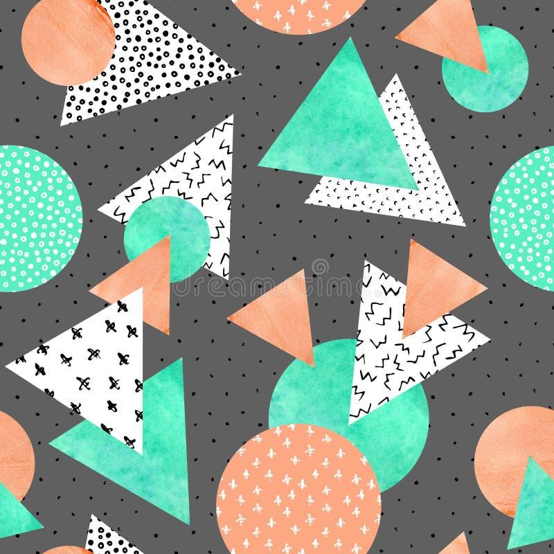 Driehoeken, cirkels met krabbels, squiggles, gekrabbel, waterverfdocument texturen royalty-vrije illustratie