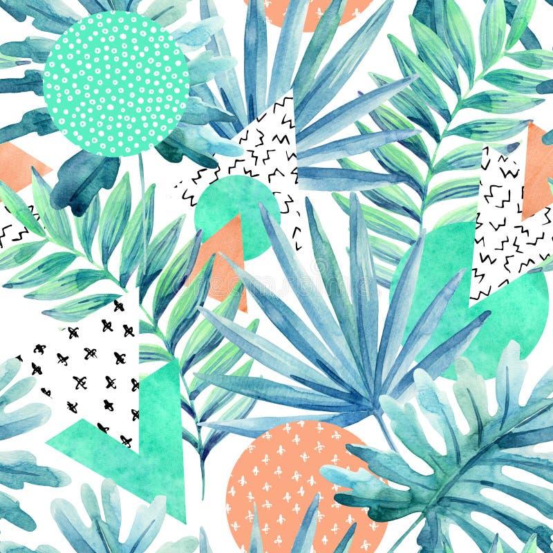 Driehoeken, cirkels met waterverf tropische bladeren, krabbels, document texturen royalty-vrije illustratie