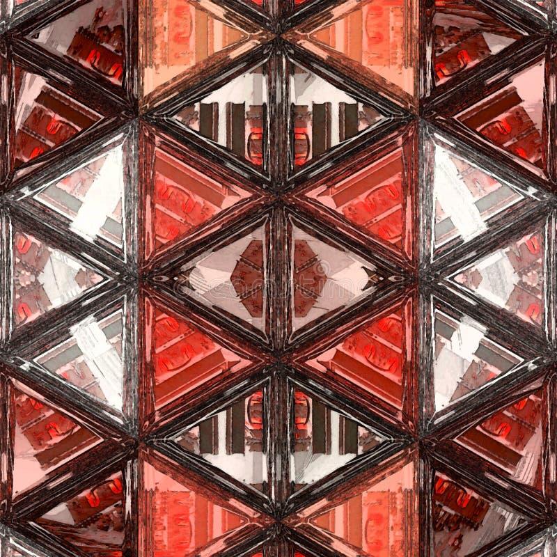 Driehoekenpatroon van geometrische vormen in sinaasappel en wit Kleurrijke moza?ekachtergrond vector illustratie