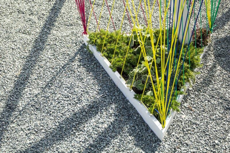 Driehoekig bloembed met kabels voor installaties dichtbij de grintweg, modern ontwerp stock fotografie