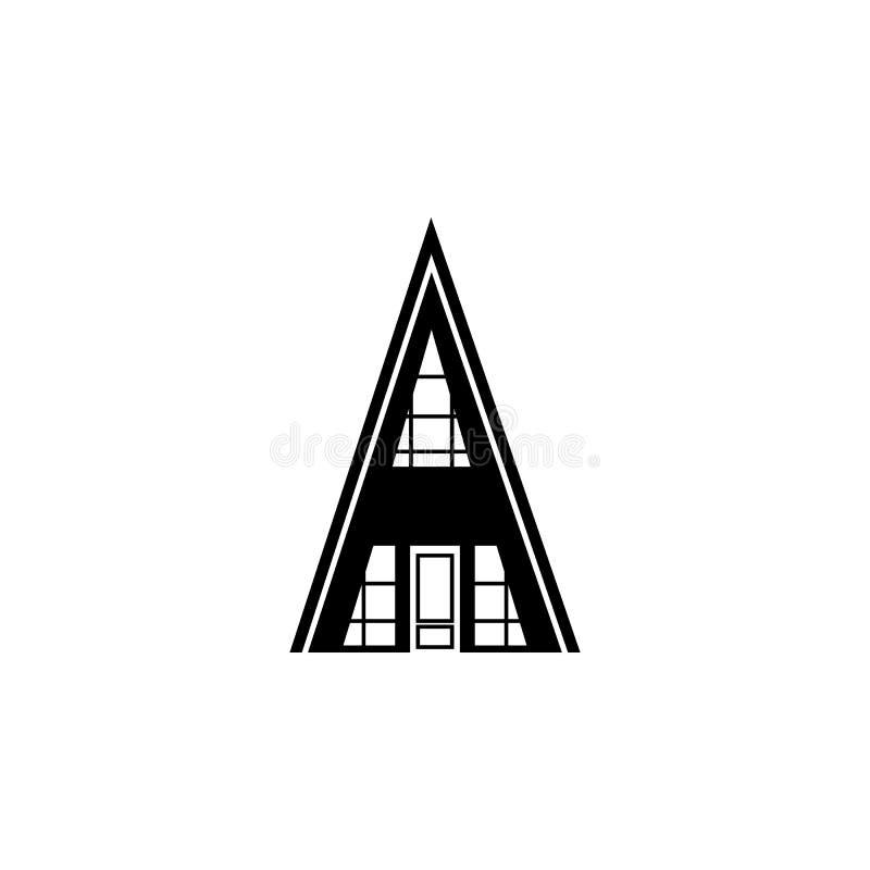 Driehoekig huispictogram Element van reispictogram voor mobiel concept en Web apps Het dunne pictogram van het lijn driehoekige h stock illustratie