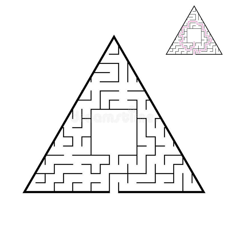 Driehoekig labyrint Een interessant en nuttig spel voor kinderen Een eenvoudige vlakke vectorillustratie op een witte achtergrond vector illustratie