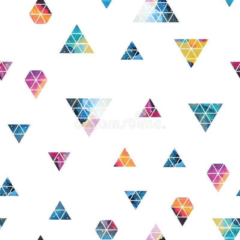 Driehoekig ruimteontwerp Abstract waterverfornament royalty-vrije illustratie