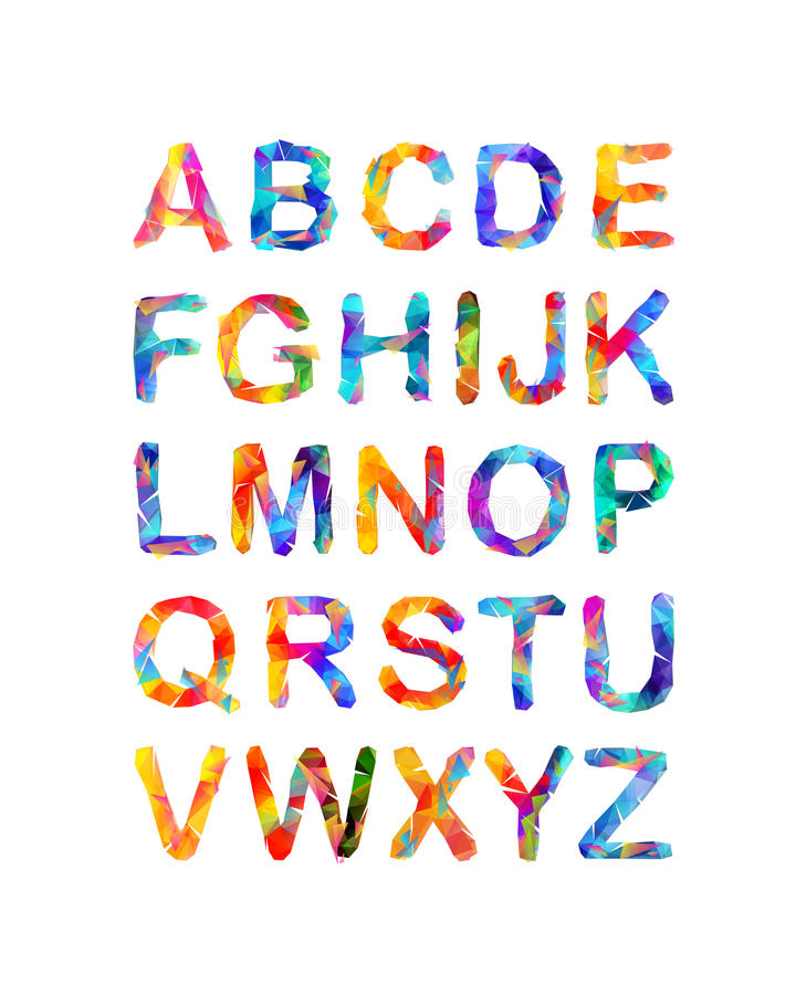 Driehoekig vectoralfabet Multicolored brieven vector illustratie