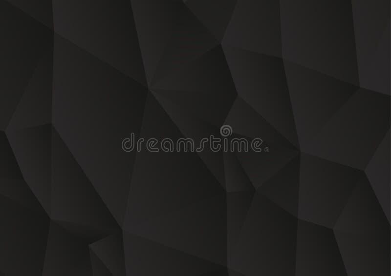 Driehoekige abstracte zwarte vectorachtergrond, de lage polyachtergrond van het driehoekenmozaïek vector illustratie