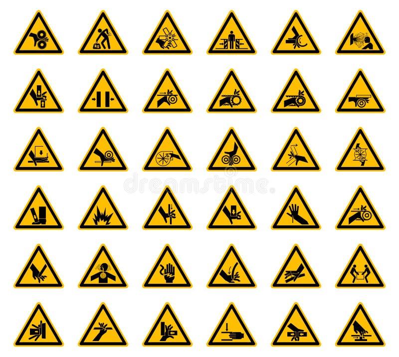 Driehoekige de Symbolenetiketten van het Waarschuwingsgevaar op Witte Achtergrond stock illustratie