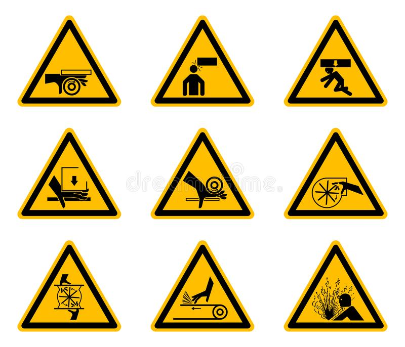 Driehoekige de Symbolenetiketten van het Waarschuwingsgevaar op Witte Achtergrond vector illustratie