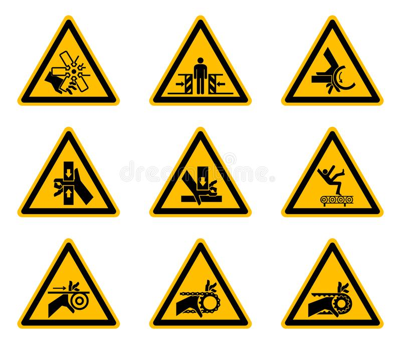Driehoekige de Symbolenetiketten van het Waarschuwingsgevaar op Witte Achtergrond royalty-vrije illustratie