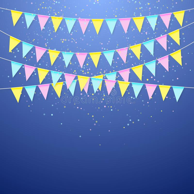 Driehoekige de vlagslinger van het kleurenfestival Decoratiebanner voor verjaardagsvakantie, festival, Carnaval en verjaardag royalty-vrije illustratie