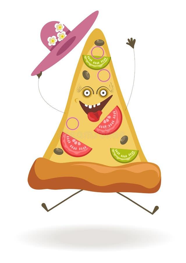 Driehoekige pizzaplak met belachelijke gezicht en hoed vector illustratie