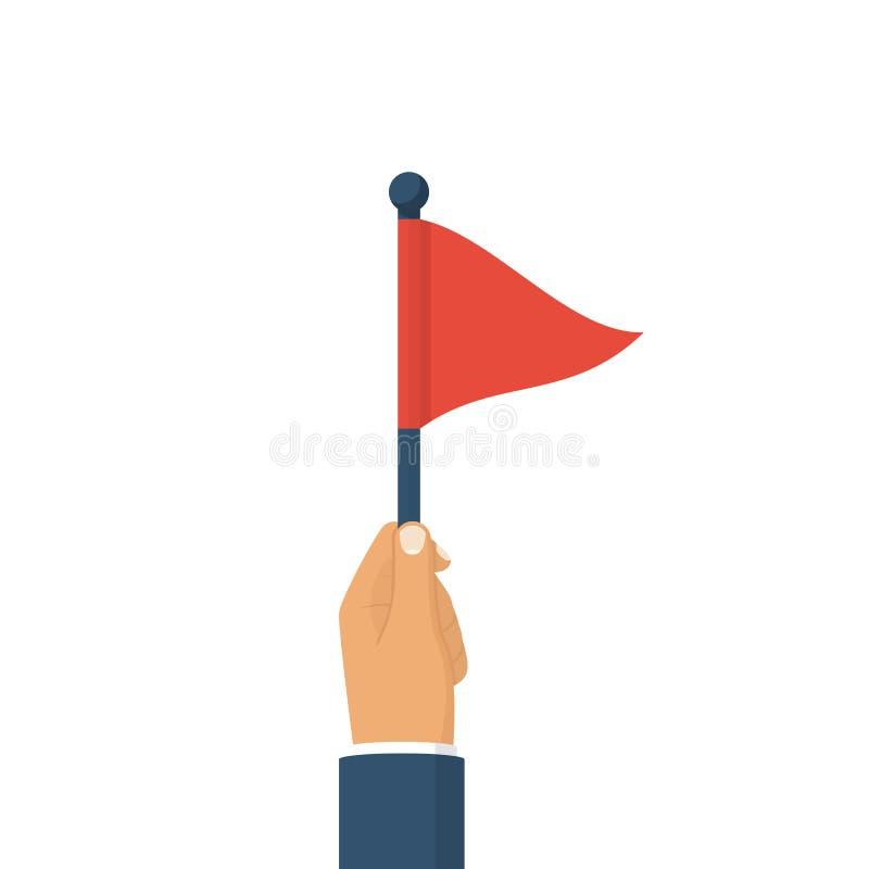Driehoekige rode vlag die in hand mens houden stock illustratie