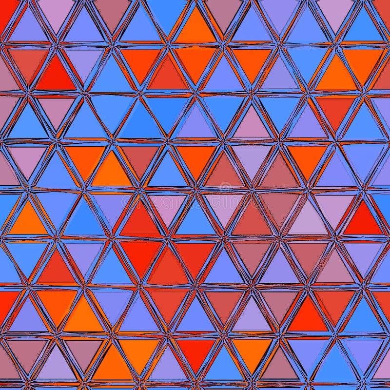 Driehoeks Achtergrondpatroon met blauwe en rode driehoeken vector illustratie