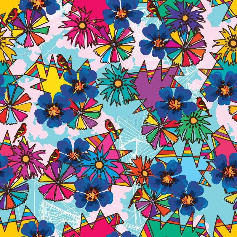 Driehoeks kleurrijk ceramisch naadloos patroon stock illustratie