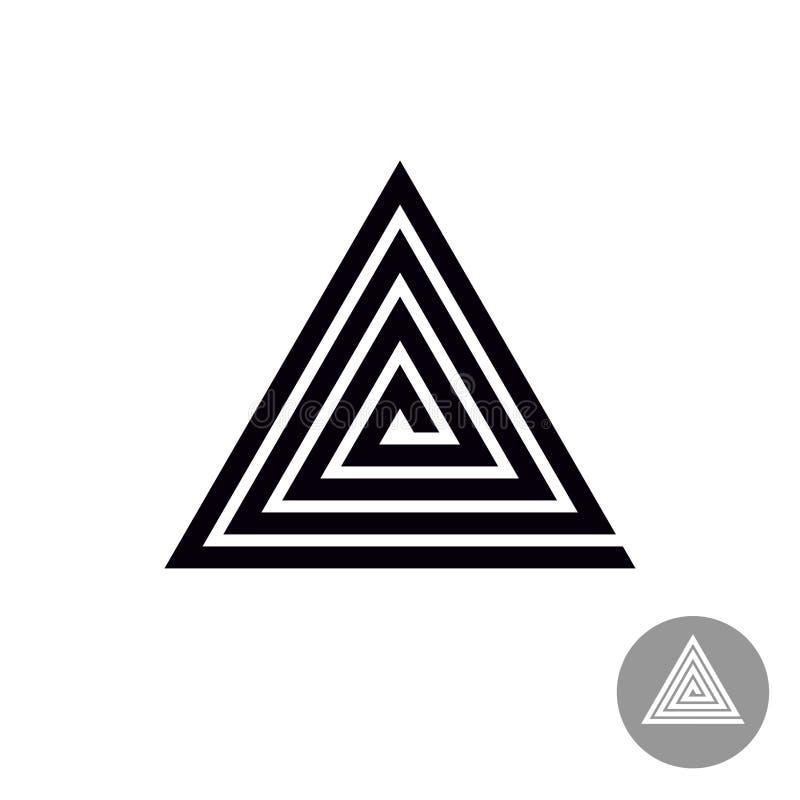 Driehoeks spiraalvormig geometrisch symbool Stammenstijl abstract embleem royalty-vrije illustratie