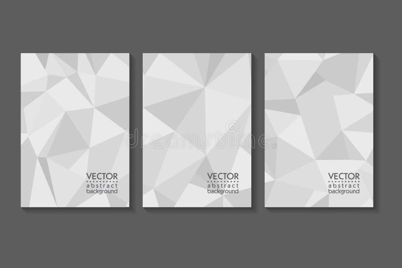 Driehoeks veelhoekige abstracte achtergrond Grijs gradiëntontwerp Lage polyvormbanner Vector illustratie stock illustratie