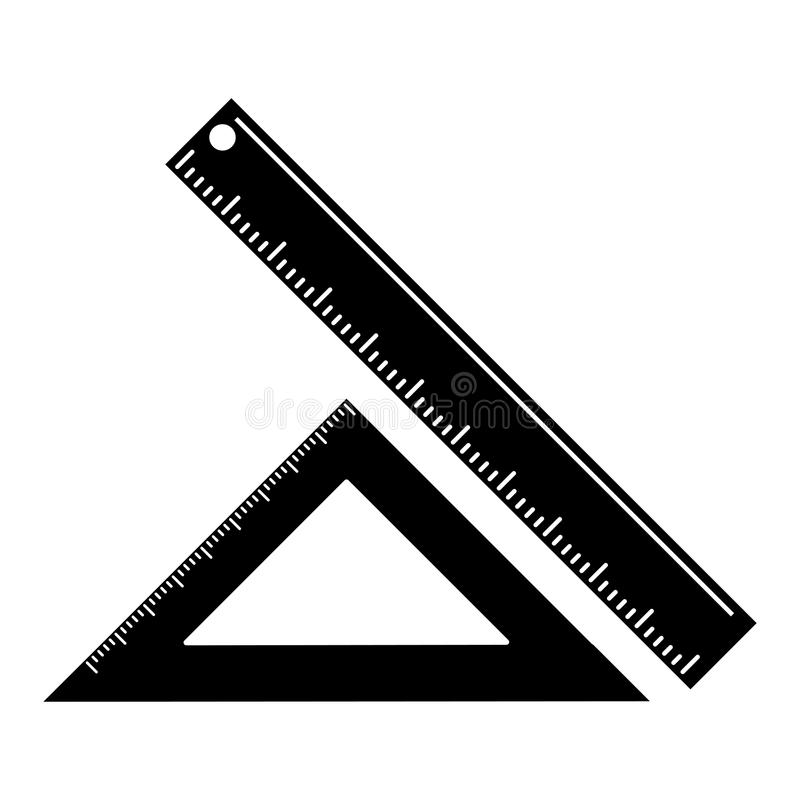 driehoeksheerser die schoolpictogram meten stock illustratie
