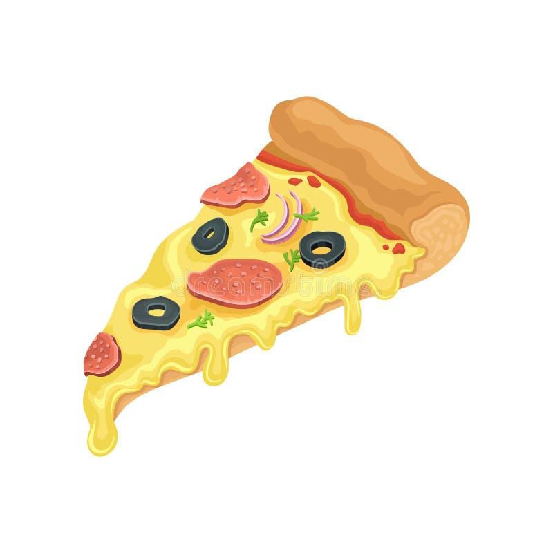 Driehoeksplak van klassieke pizza met salami Snel voedselthema Het pictogram van de beeldverhaalstijl Vlak vectorelement voor kof royalty-vrije illustratie