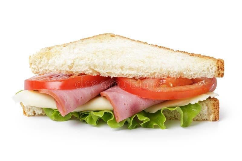Driehoekssandwich met ham, kaas en groenten royalty-vrije stock foto