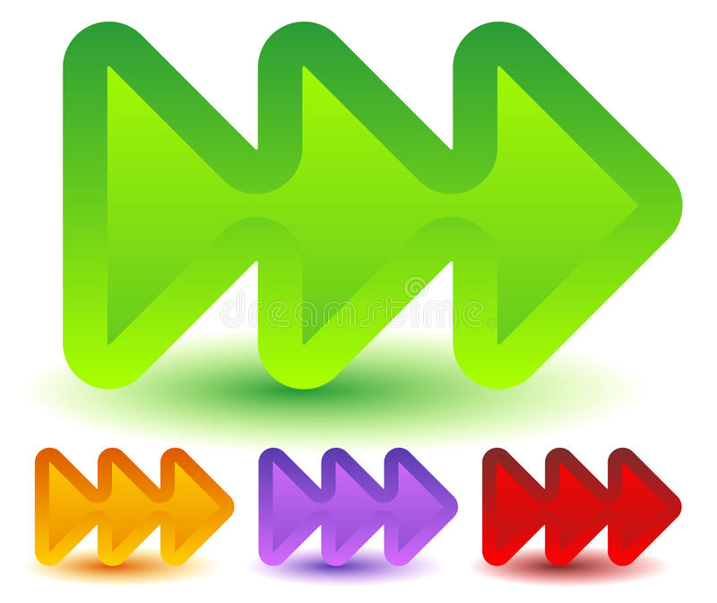 Drievoud, 3 pijlen in meer kleuren Bepaal van, snelle voorwaarts, snelheid de plaats stock illustratie