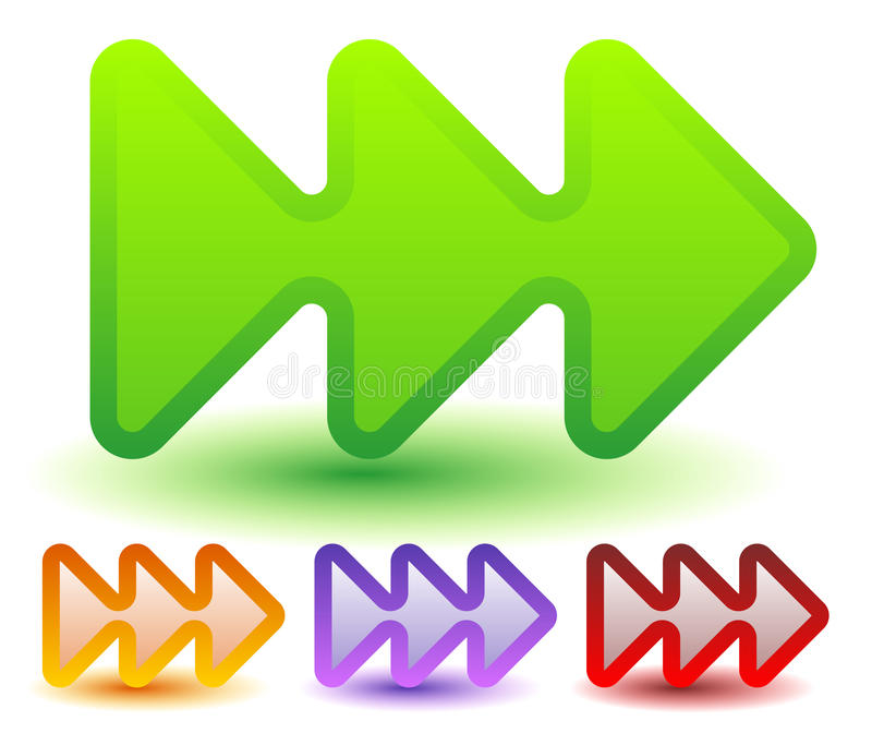 Drievoud, 3 pijlen in meer kleuren Bepaal van, snelle voorwaarts, snelheid de plaats royalty-vrije illustratie