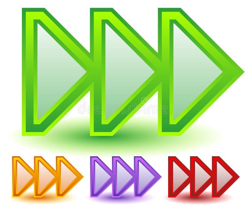 Drievoud, 3 pijlen in meer kleuren Bepaal van, snelle voorwaarts, snelheid de plaats vector illustratie