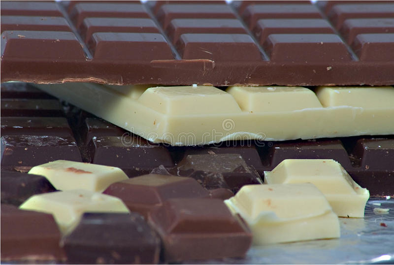 Drievoudige chocolade royalty-vrije stock fotografie
