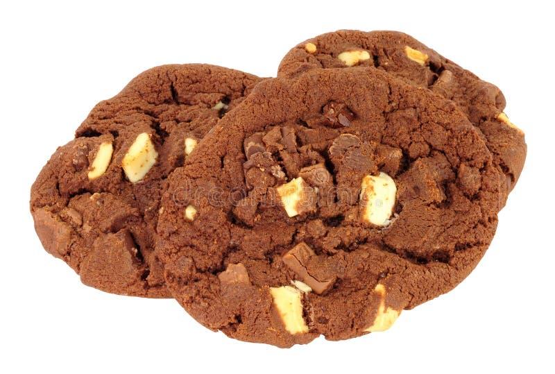 Drievoudige chocoladeschilferkoekjes royalty-vrije stock fotografie
