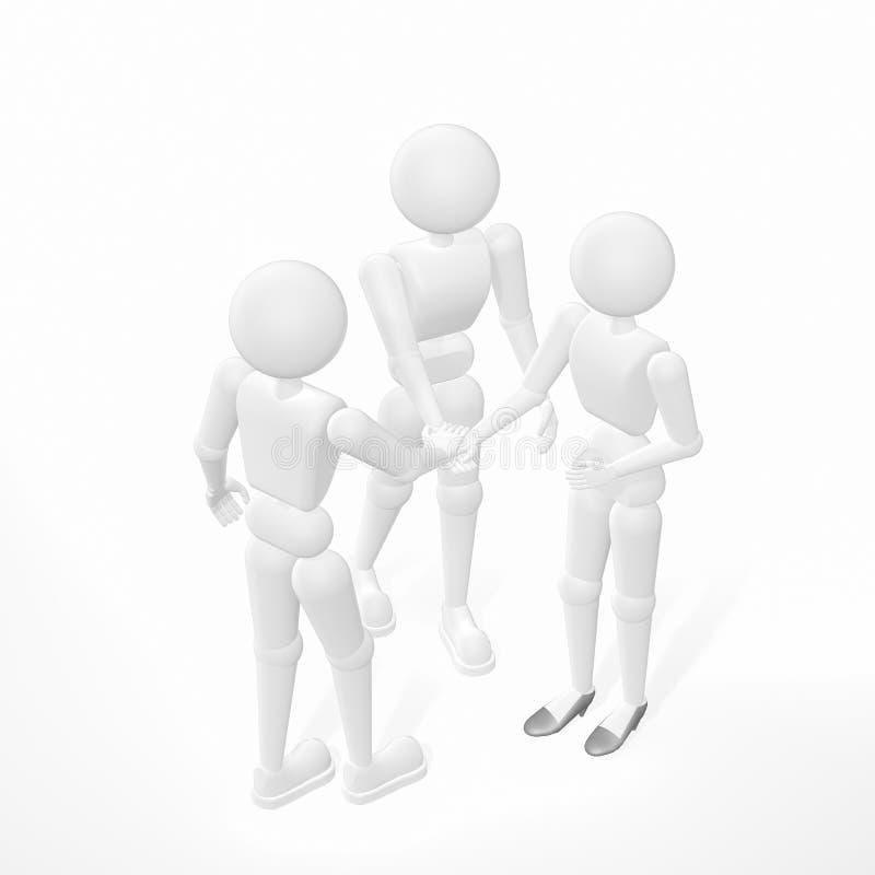 Drievoudige handdruk vector illustratie