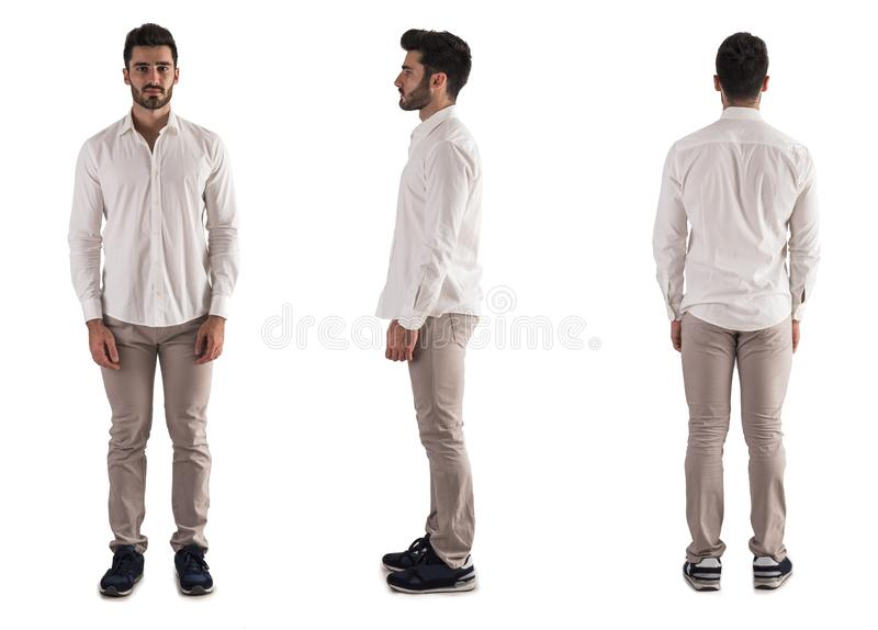 Drievoudige mening van de jonge mens: rug, voorzijde, kant op wit stock foto