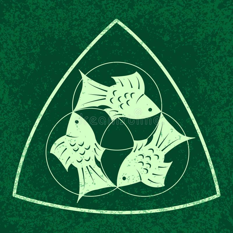 Drievuldigheidszondag Christelijke vakantie Drie symmetrisch gevestigde vissen, Op een groene achtergrond vector illustratie