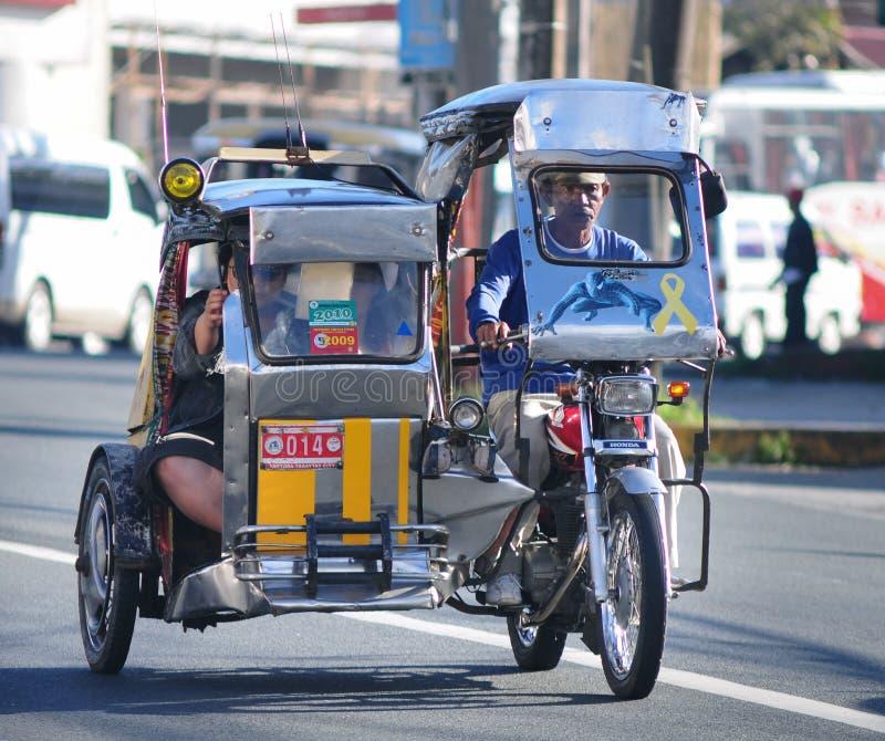 Driewieler op de straat, Boracay, Filippijnen royalty-vrije stock afbeelding