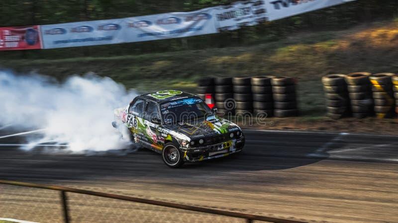 Drift Car on the Race Track. In Bikenieki are drifting stock images